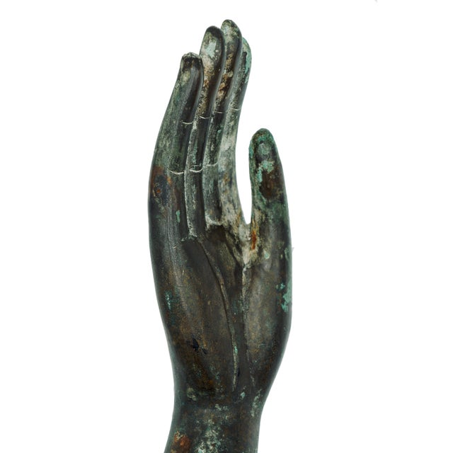 Abstract Vintage Bronze Hand Statue For Sale - Image 3 of 9