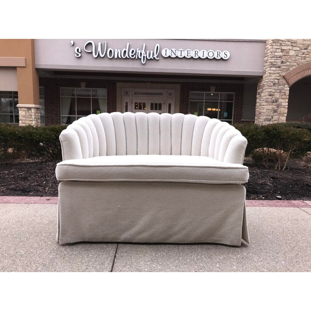 1940s Vintage Channel Back White Chenille Settee Loveseat Hollywood Regency Era For Sale - Image 9 of 9