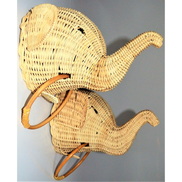 2010s Elephant Wall Mount Wicker Towel Rings - a Pair For Sale - Image 5 of 12