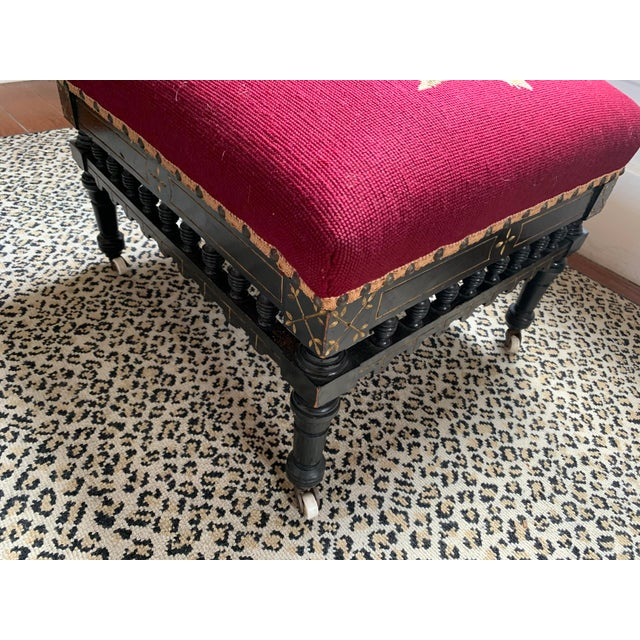Ebonized Aesthetic Movement Tabouret on Casters For Sale In New Orleans - Image 6 of 8