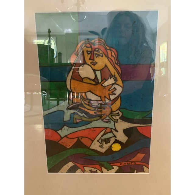 """Modern 1970s Modern """"Mother and Child"""" Art by Canto For Sale - Image 3 of 6"""