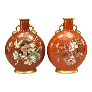 English Victorian Minton Porcelain Vases For Sale