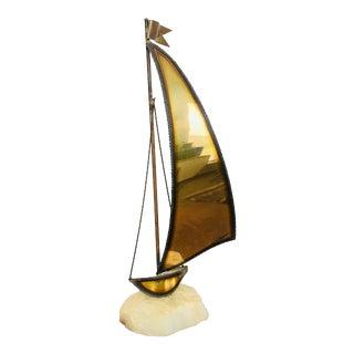 John Demott Vintage Mid-Century Modern Brutalist Brass, Bronze, and Onyx Signed Sailboat Sculpture For Sale
