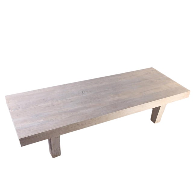 Rustic White Modern Teak Coffee Table For Sale