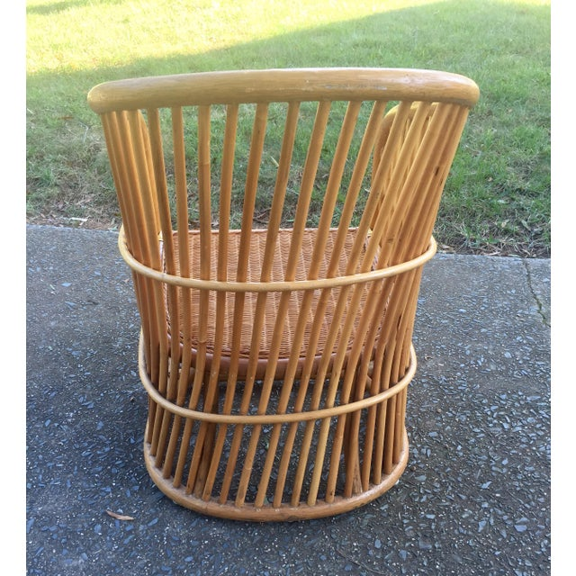 Vintage Rattan Barrel Chair - Image 6 of 11