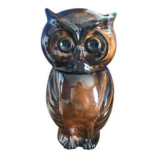 Vintage Brown Ceramic Owl Cookie Jar For Sale