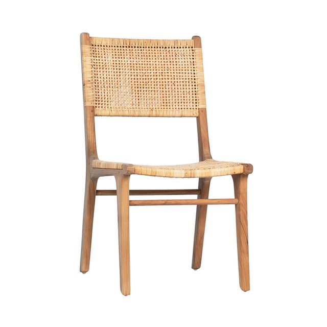 Wicker Natural Teak & Wicker Dining Chair For Sale - Image 7 of 7