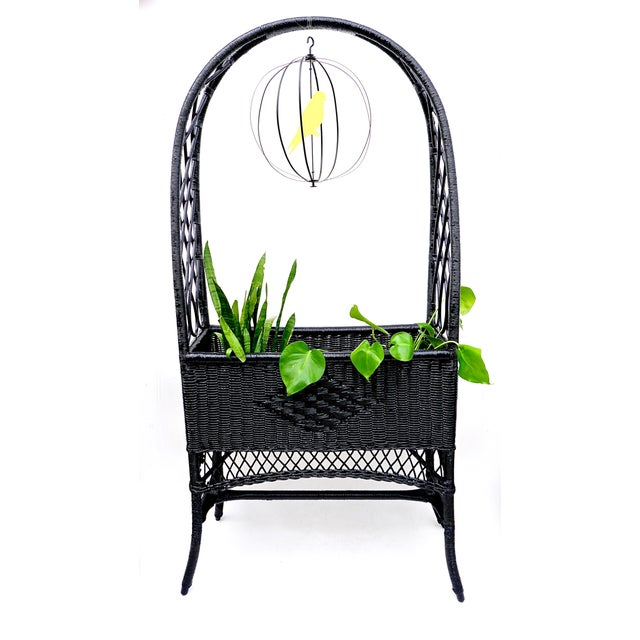 1960s Black Lacquered Wicker Plant Stand Arched Trellis Fernery Box For Sale - Image 5 of 11