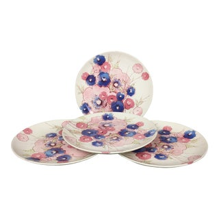 Set of 4- Vintage Noritake Craftone Medley Floral Plates For Sale