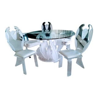Vintage Lucite Swan Dining Table & 3 Tuxedo Chairs - No Glass Top