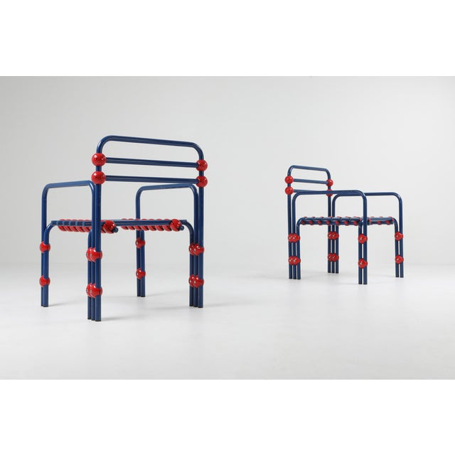Italian Postmodern Pair of Armchairs in Red and Blue For Sale - Image 4 of 8