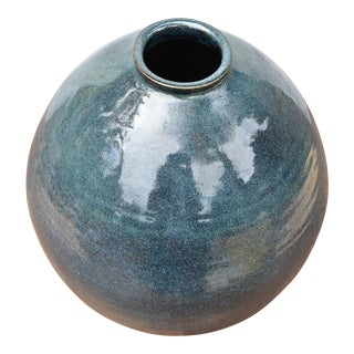 Vintage Blue Ceramic Vase For Sale