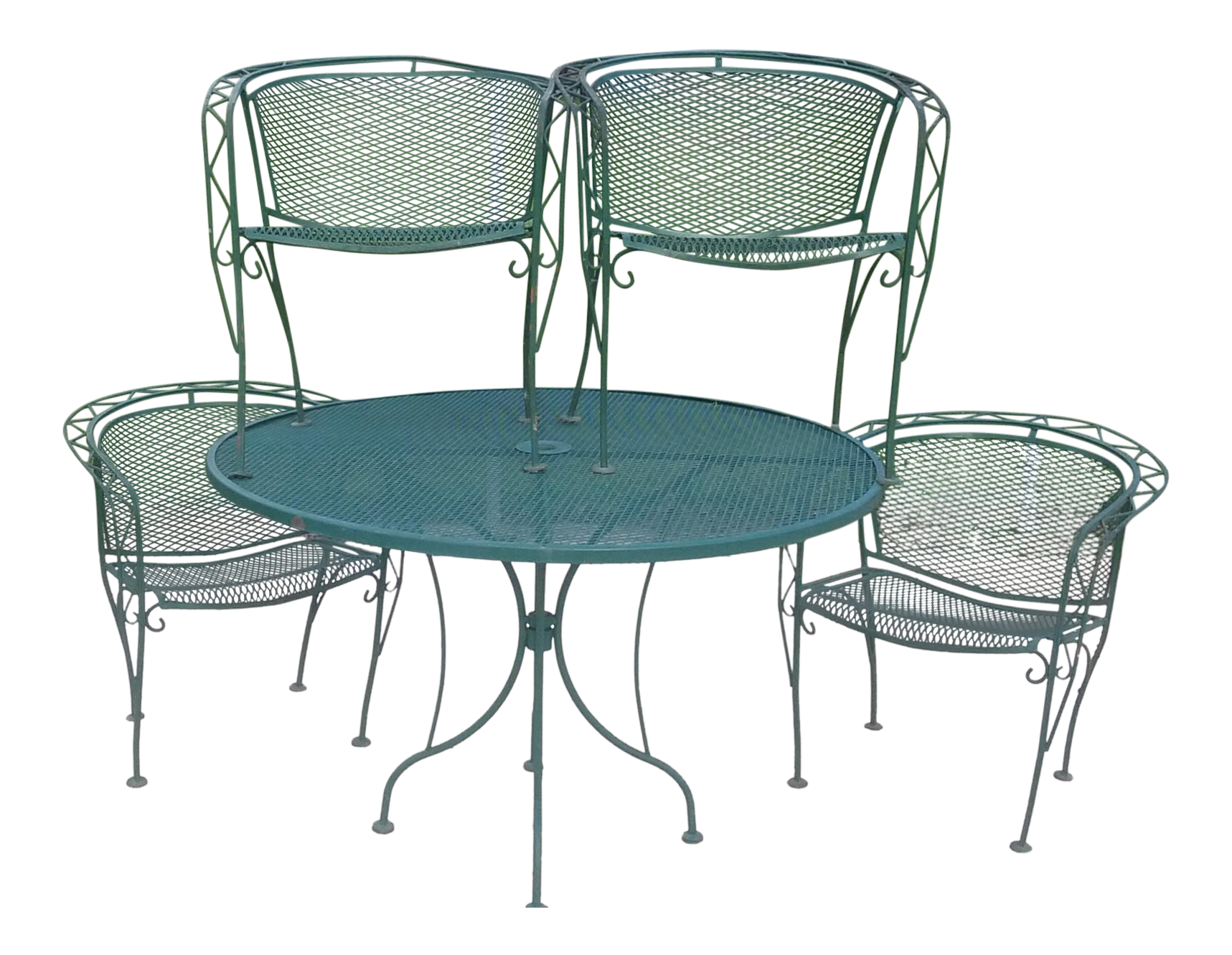 Green wrought iron patio furniture Coloured Metal Mid Century Modern Woodward Wrought Iron Outdoor Patio Dining Table Chairs Set Of Chairish Vintage Used Wrought Iron Patio And Garden Furniture Chairish