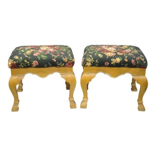 Late 20th Century Country French Style Cabriole Leg Hoof Foot Upholstered Stools- A Pair For Sale