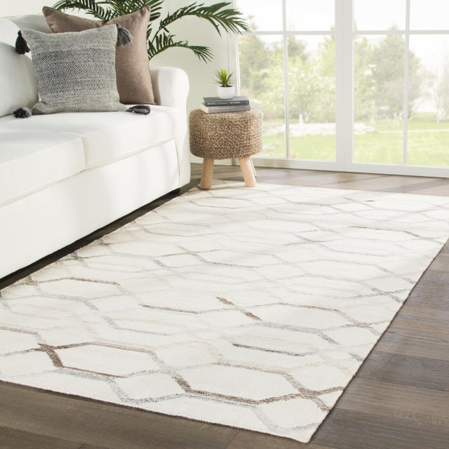 2010s Jaipur Living Laveer Handmade Trellis Ivory & Light Gray Area Rug - 5'x8' For Sale - Image 5 of 6