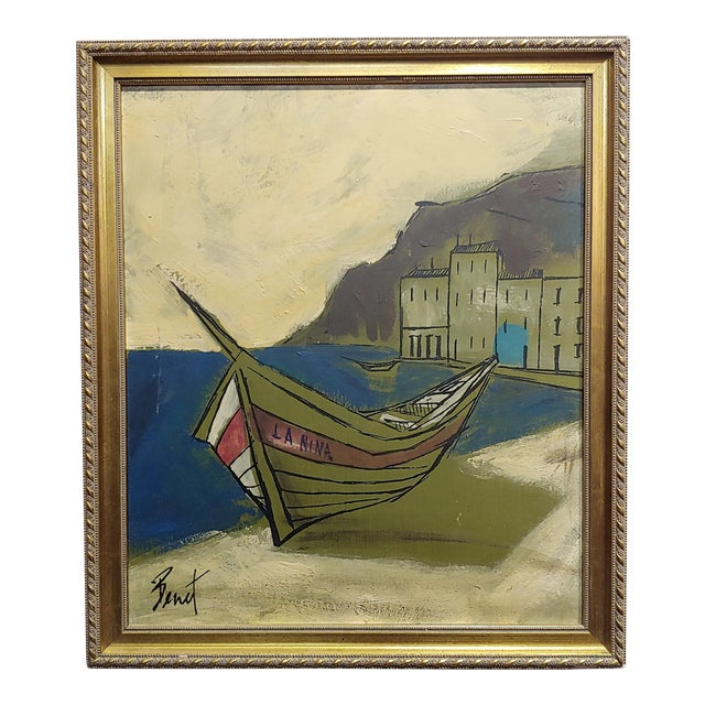 Benet -Fishing Boat Ashore - 1960s French Oil Painting For Sale