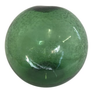 Vintage Mid Century Green Glass Fishing Float Garden Accent For Sale