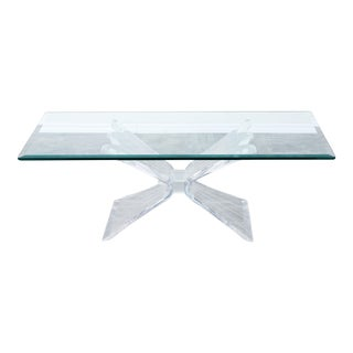 Vintage Butterfly Coffee Table With Rectangular Glass Top, Lucite Coffee Table For Sale