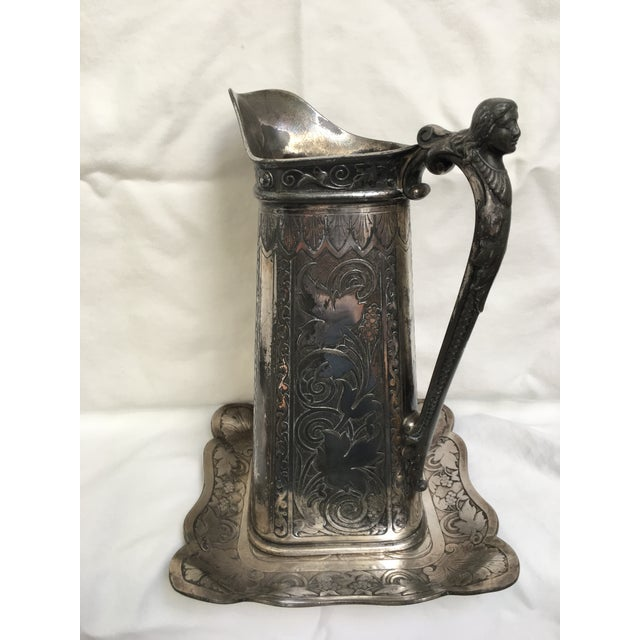 Traditional Late 19th Century Antique James Tufts Silver Plate Pitcher & Tray For Sale - Image 3 of 13