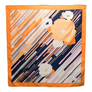Christian Dior Paris Silk Scarf Blue and Orange Floral Print For Sale
