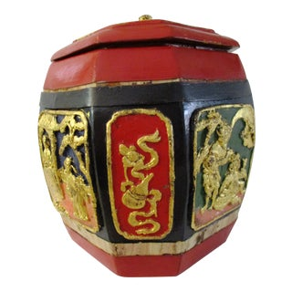 Vintage Asian Hand-Painted Wood Lidded Box For Sale