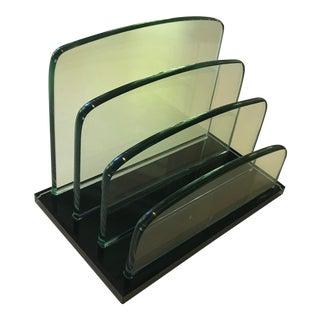 Vintage Glass Desk Letter Holder Mail Sorter For Sale