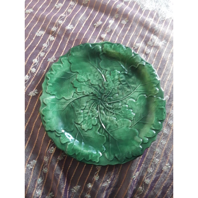Italian Vintage Vietri Green Cabbage Plate For Sale In Seattle - Image 6 of 6