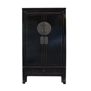 Chinese Distressed Black Tall Wedding Armoire Wardrobe Tv Cabinet For Sale