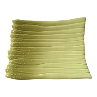 Large - Apple Green Ceramic Hand Painted Asparagus Platter For Sale