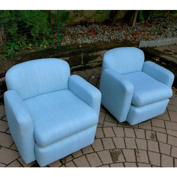 Pale Blue Mid-Century Barrel Lounge Chairs - Image 6 of 6