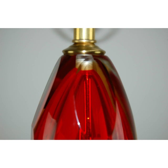 Gold Vintage Murano Glass Table Lamps Sommerso Red For Sale - Image 8 of 10