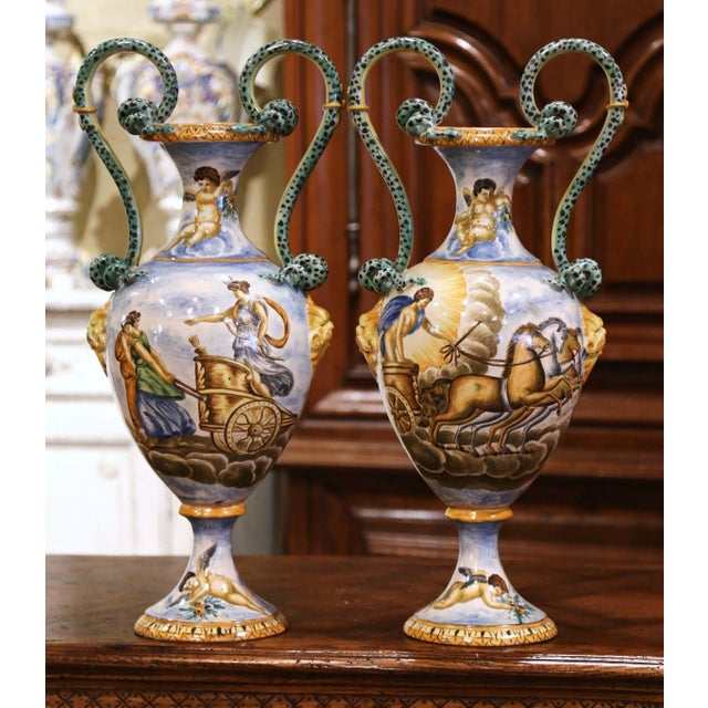 19th Century Italian Classical Painted Majolica Vases With Roman Scenes - a Pair For Sale - Image 13 of 13