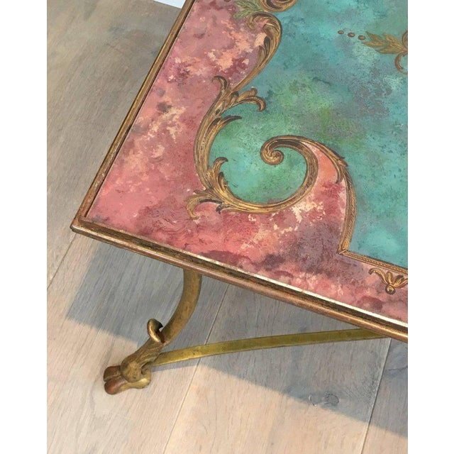 Neoclassical Coffee Table With Gilt Base and Reverse Painted Mirror Top - Image 8 of 11
