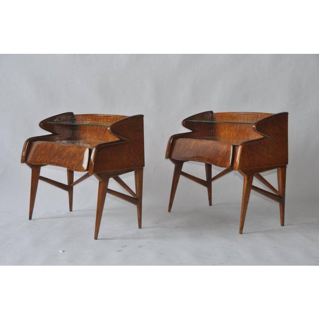Pair of 1950s Italian nightstands. Vintage mirror tops with glass shelf. Single drawer.