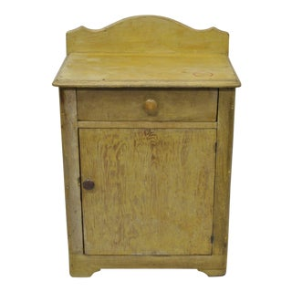 Antique Primitive Pine Wood Antiqued Yellow Washstand Nightstand Cabinet Table