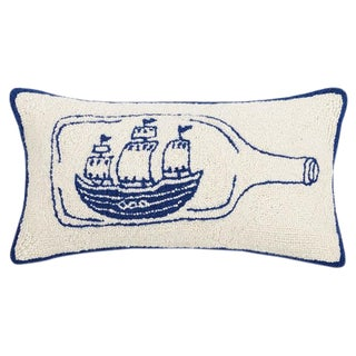 Ship in a Bottle Hook Pillow For Sale
