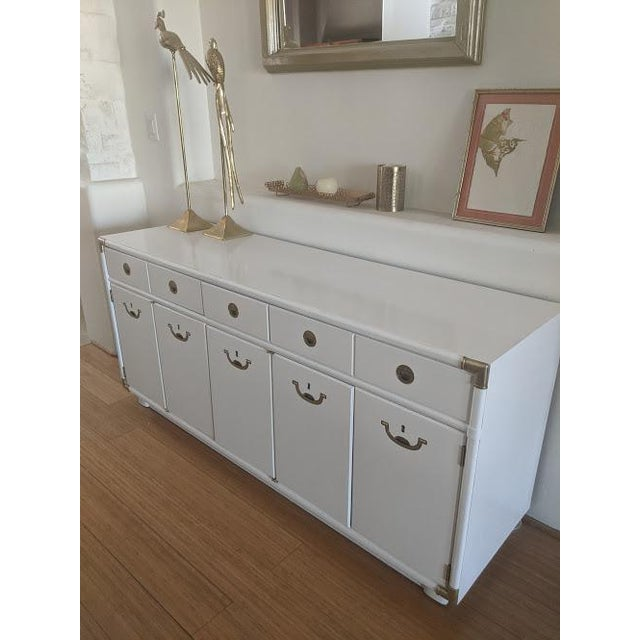1970s Campaign Drexel Accolade White Credenza For Sale - Image 11 of 11