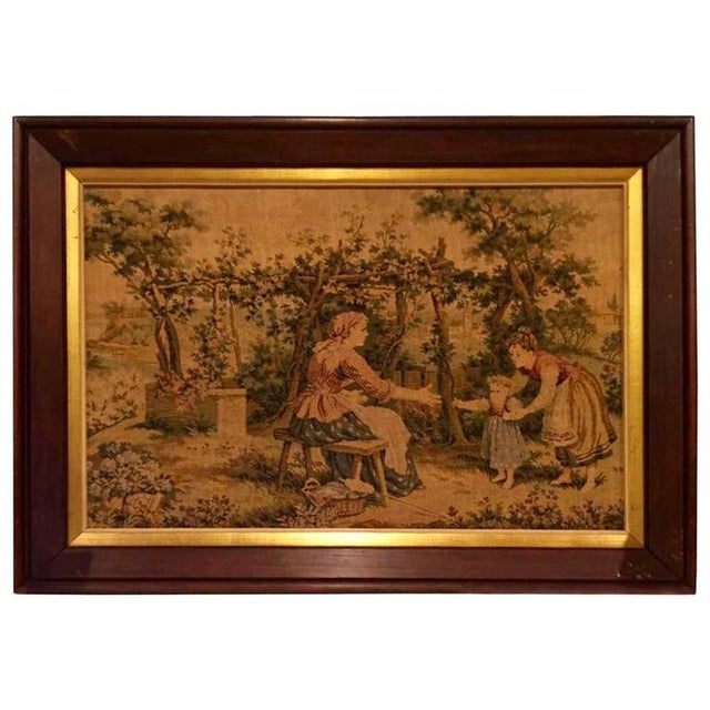 Figurative 19th Century Antique French Framed Tapestry For Sale - Image 3 of 3