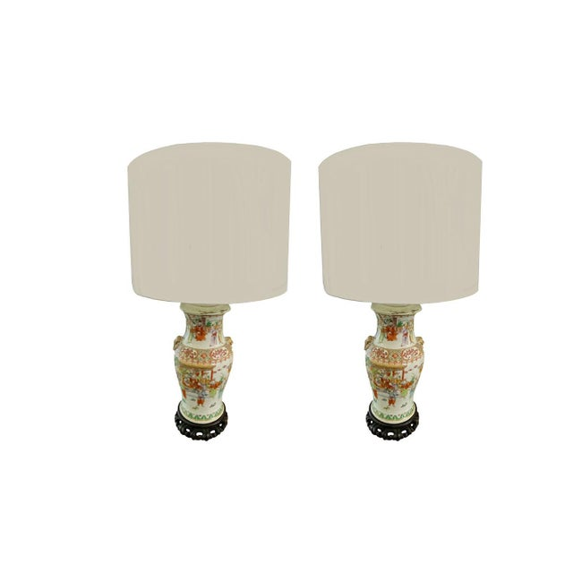 Green 19th Century Chinese Qing Canton Porcelain Lamps - a Pair For Sale - Image 8 of 8