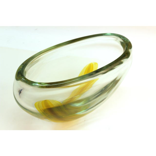 Italian Modern Murano Art Glass Vase with Yellow Stripe For Sale In New York - Image 6 of 11