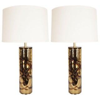 Modernist Sculptural Handblown Murano Gold Mercury Glass Table Lamps - a Pair For Sale