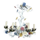 Image of 1970s Vintage Italian Tole Floral Chandelier For Sale