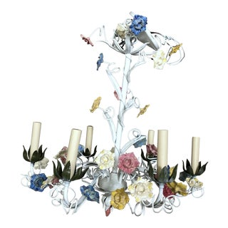 1970s Vintage Italian Tole Floral Chandelier For Sale