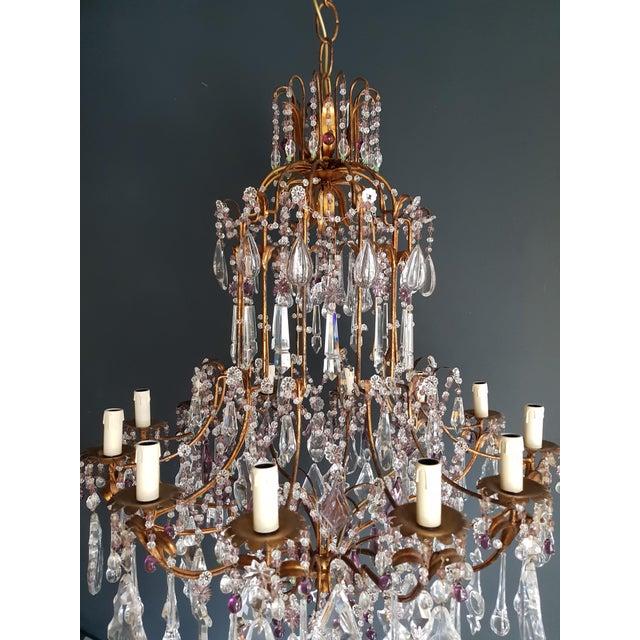 Crystal Chandelier Antique Ceiling Lamp Murano Florentiner Lustre Art Nouveau Purple For Sale - Image 6 of 11
