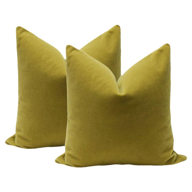 "22"" Mohair Velvet Pillows in Chartreuse - a Pair - Image 1 of 5"