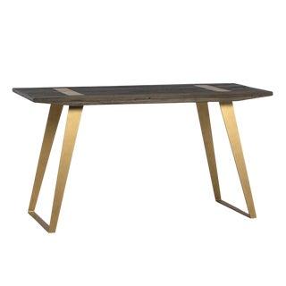 Modern Wood & Brass Desk For Sale