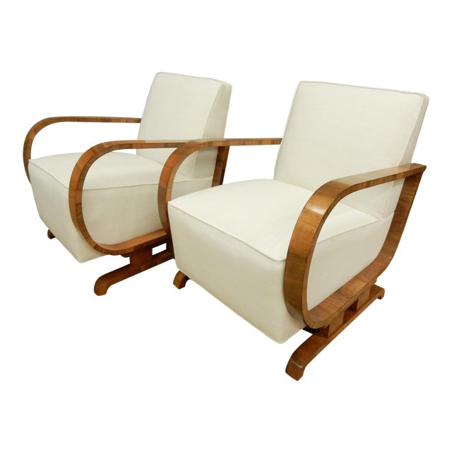 Pair of Northern European Art Deco Arm Chairs For Sale