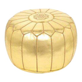 Handmade Gold Leather Pouf For Sale