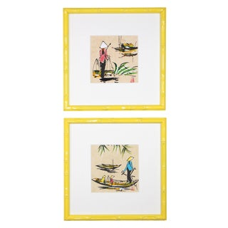 """1970s Vintage Framed Vietnamese Village """"Life on the Water"""" Signed Paintings - A Pair For Sale"""