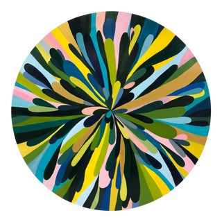 "Circular Abstract Painting ""Petals Rising"" For Sale"